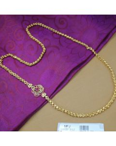 0300 Gm Gold Dip Chain With Cz Ruby Stones Side Pendant Online12919