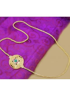 0300 Gm Golden Finish Chain With Cz Ruby Emerald Stones Designer Side Pendant Online12919