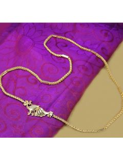 0300 Gm Golden Finish Chain With Cz Ruby Stones Peacock Design Side Pendant Online12919