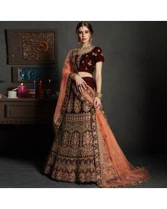 Maroon Velvet Designer Wedding Lehenga Choli