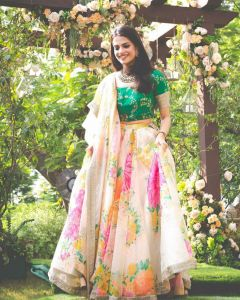 Cream Khadi Organza Floral Bollywood Lehenga Choli