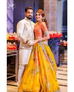 Yellow Khadi Organza Floral Bollywood Lehenga Choli