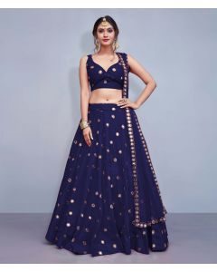 Navy Blue Silk Designer  Lehenga Choli