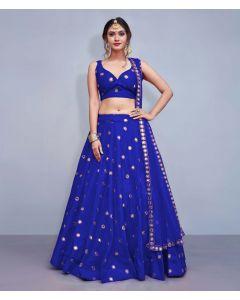 Dark Blue Silk Designer  Lehenga Choli