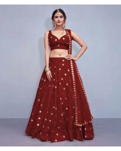 Maroon Silk Designer  Lehenga Choli