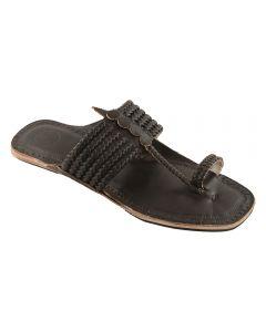 Premium Quality Outstanding Dark Brown Six Braided Kolhapuri Leather Chappal For Men