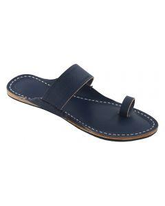 Premium Quality Dark Blue Toe Style Leather Kolhapuri Sandal  For Women