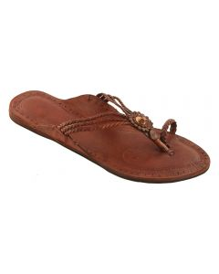 Premium Quality Traditional Tan Color Handcrafted Three Braided Kolhapuri Leather Chappal