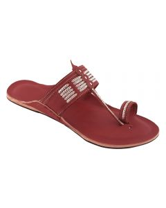 Premium Quality Trendy Cherry Red Handmade Leather Chappal With Silver Braids For Women