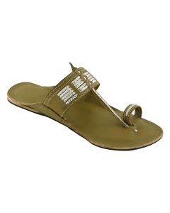 Premium Quality Stylish Seaweed Colour Indian Leather Sandal With Silver Braids