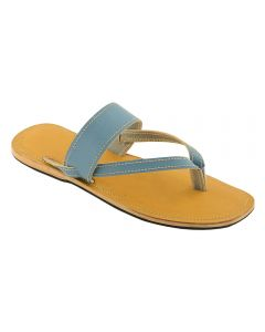 Premium Quality Gorgeous Dark Yellow And Sky-Blue Leather Flip Flop For Women