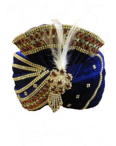 Royal Blue turban with full stones all over it