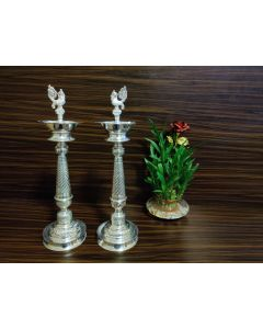 Pair 17 Inch German Silver Washable Deepam | Lamps