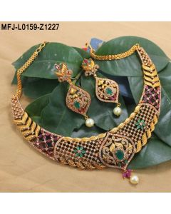 1 Gram Gold Dip Cz Ruby Emerald Stones Flowers Leaves Design With Pearl Drop Choker Necklace Set Buy Online
