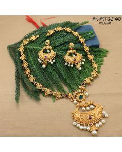 1 Gram Gold Dip Kempu Cz Emerald Stones Peacock Flowers Jhumki Design Haram Set Buy Online12919
