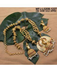 1 Gram Gold Dipped Ruby Emerald Stones Peacock Jumki Balls Design With Pearls Drops Mat Finish Haram Set Buy Online12919