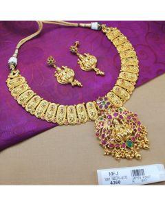 1 Gram Gold Dip Ruby Emerald Stones Lakshmi Design Necklace Set Online