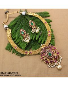 1 Gram Gold Dip Ruby Emerald Stones Peacock Flowers Thilakam Design With Pearls Drops Necklace Set Buy Online