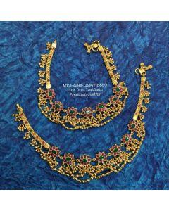 1 Gram Gold Dip Rubyemerald Stones With Matte Ballschain Design Gold Finished Anklet Set Buy Online12919