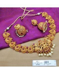 1 Gram Gold Dip Ruby Stones Lakshmi Peacock Design Necklace Set Buy Online
