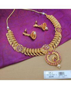 1 Gram Gold Dip Ruby Stones Parrot Design Necklace Set Online