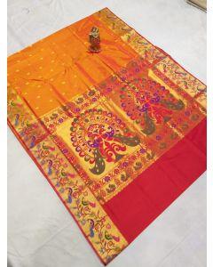 Kalamkari Hand Painted Uppada Silk Saree(Natural Vegetables Colors Used )224