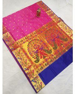 Hand Block Printed Chanderi Silk Dress Material 180