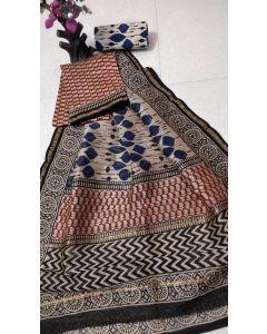 Hand Block Printed Chanderi Silk Dress Material 181