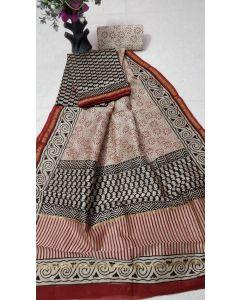 Hand Block Printed Chanderi Silk Dress Material 182