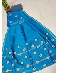 Hand Block Printed Chanderi Silk Dress Material 183