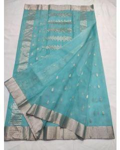 Chanderi Kataan Pure Silk Designer Fancy Silver Buttas Saree172