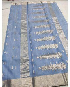 Chanderi Kataan Pure Silk Designer Fancy Silver Buttas Saree173