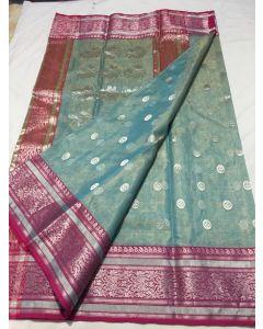 Chanderi Kataan Pure Silk / Tissue Traditional Silver Buttas Saree175