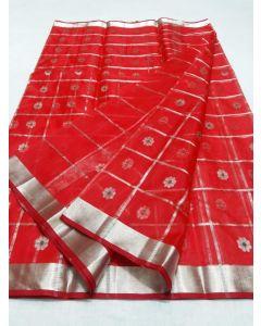 Chanderi Kataan Pure Silk Designer Fancy Silver Buttas Saree176