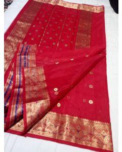 Chanderi Kataan Pure Silk Traditional Meena Border Saree177
