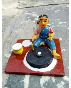 True Facility Hand Crafted - Kondapalli Toys - Man Selling in Market - Size 10 x 10 x 9 cms