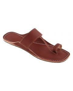 Premium Quality Stunning Look Red Brown Single Belt Kolhapuri Leather Sandal