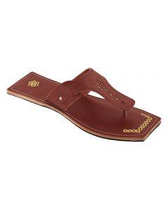 Premium Quality Outstanding Designers Golden Rivets Red Brown Kolhapuri Chappal For Men