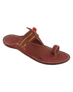 Premium Quality Striking Look Wooden Brown Sinle Belt Kolhapuri Chappal For Men