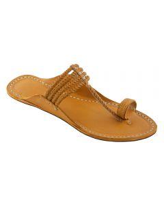 Premium Quality Designers Four Braided Dark Yellow Kolhapuri Sandal For Men