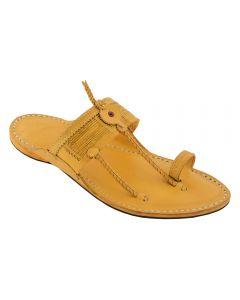 Premium Quality Typical Kolhapuri Design Fine Braids Kapshi Yellow Kolhapuri Chappal For Men