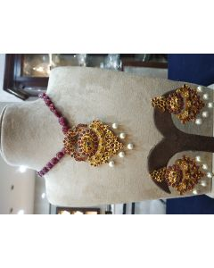 Ruby Beads With Locket Set