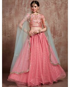 Pink Net Designer Lehenga Choli with Sequins Work
