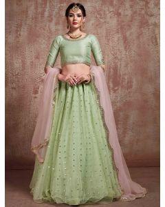 Pista Green Net Designer Lehenga Choli with Sequins Work