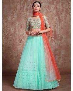 Light Blue Net Designer Lehenga Choli with Sequins Work