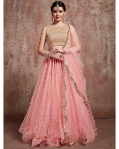 Baby Pink Net Designer Lehenga Choli with Sequins Work