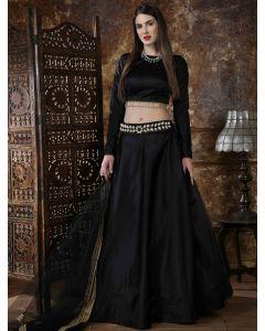 Black Taffeta Satin Plain Lehenga Choli with Gold Cutdana Bugle Beads Lace Blouse