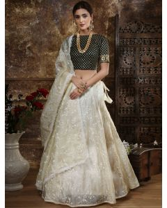 Pearl White Organza Thread Embroidered Lehenga Choli with Sequins Worked Blouse
