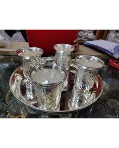 Glass set Impressive Imported German Silver Washable Plate With German Silver Washable.