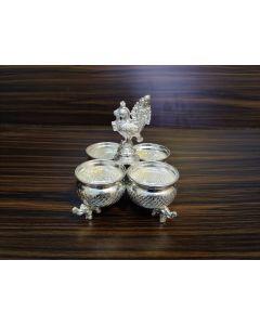 German Silver Washable Peacock Bowl Set